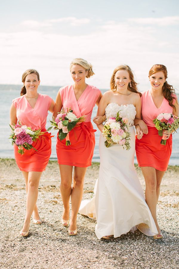 Bridesmaids in color blocked dresses wedding ideas bridesmaids in color blocked dresses junglespirit Choice Image